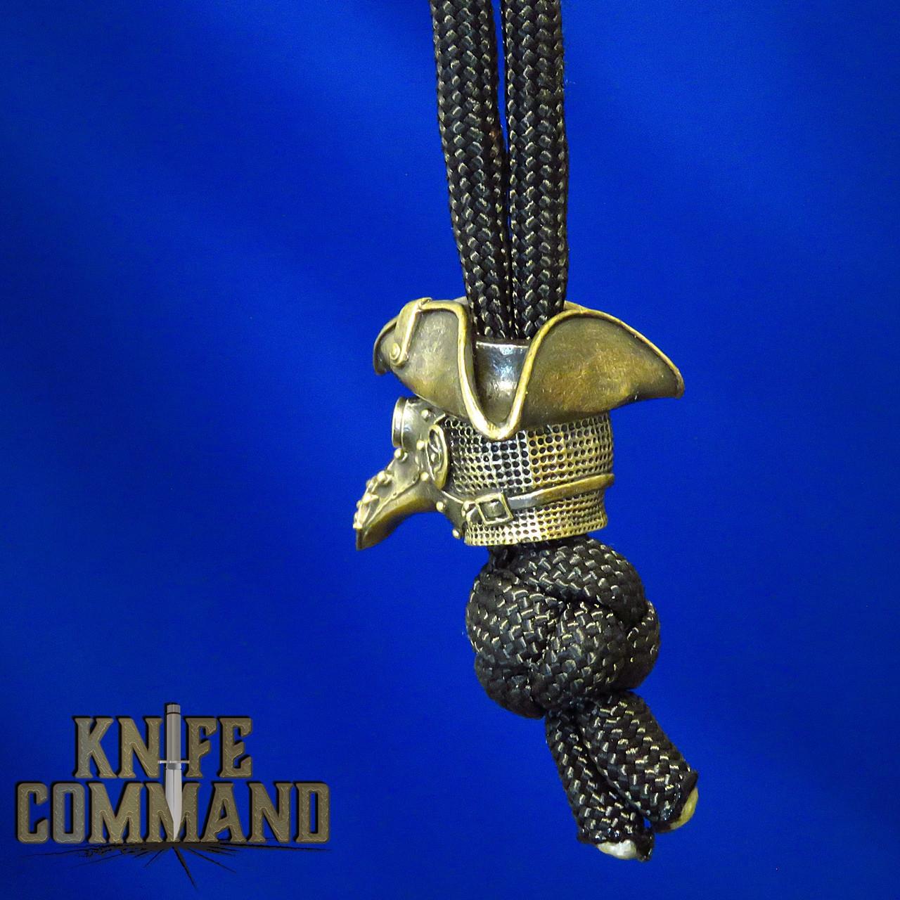 Techno Silver Plague Doctor Mask Brass Knife Lanyard Bead