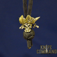 Techno Silver Pirate Skull with Sabres Brass Knife Lanyard Bead