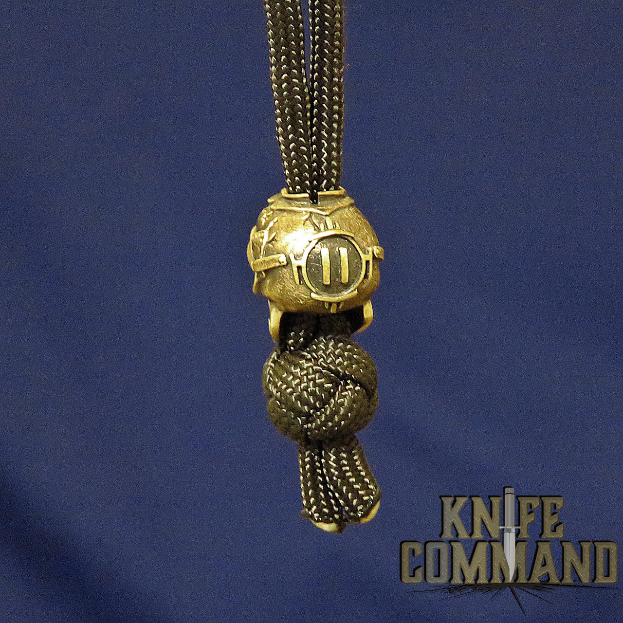 Techno Silver See No Evil Skull Brass Knife Lanyard Bead