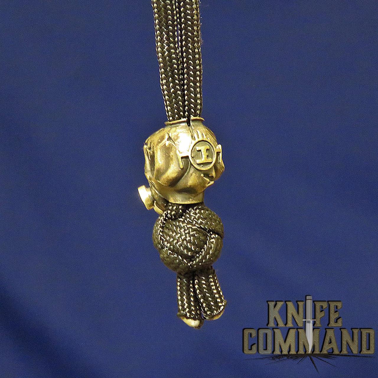 Techno Silver Speak No Evil Skull Brass Knife Lanyard Bead