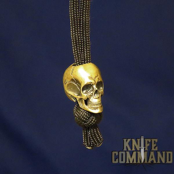 Techno Silver Big Skull Brass Knife Lanyard Bead Large
