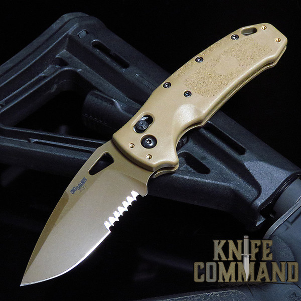 """Hogue Knives Sig Sauer K320A M17 Coyote Tan ABLE Lock Manual Folder 3.5"""" Drop Point Blade - Coyote PVD Finish, Poly Frame Knife 36373"""