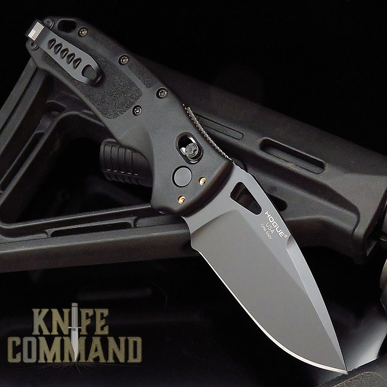 "Hogue Knives Sig Sauer K320A Nitron Black Manual Folder 3.5"" Drop Point Blade - Black Cerakote Finish, Poly Frame Knife 36370"