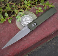 """Pro-Tech Knives Godfather 920-Green Automatic Knife Police Law Enforcement Folder 4"""" Bead Blasted Blade and Hardware"""