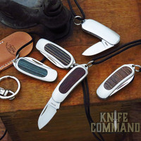 Moki Pendant Necklace Keychain Layered Wood Folding Knife