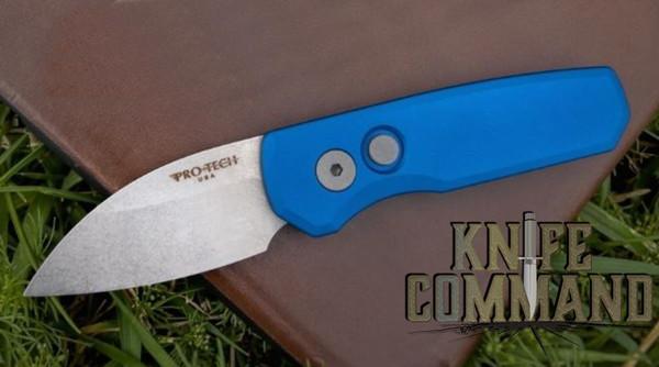 "Pro-Tech Knives R5101 Blue Runt 5 Automatic Folder Knife Folder 1-15/16"" Wharncliffe CPM-20CV Bead Blasted Blade"