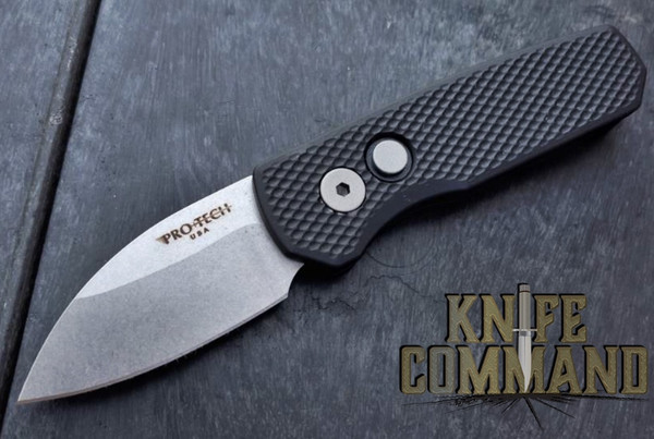 "Pro-Tech Knives R5105 Runt 5 Automatic Folder Knife Folder 1-15/16"" Wharncliffe CPM-20CV Bead Blasted Blade"