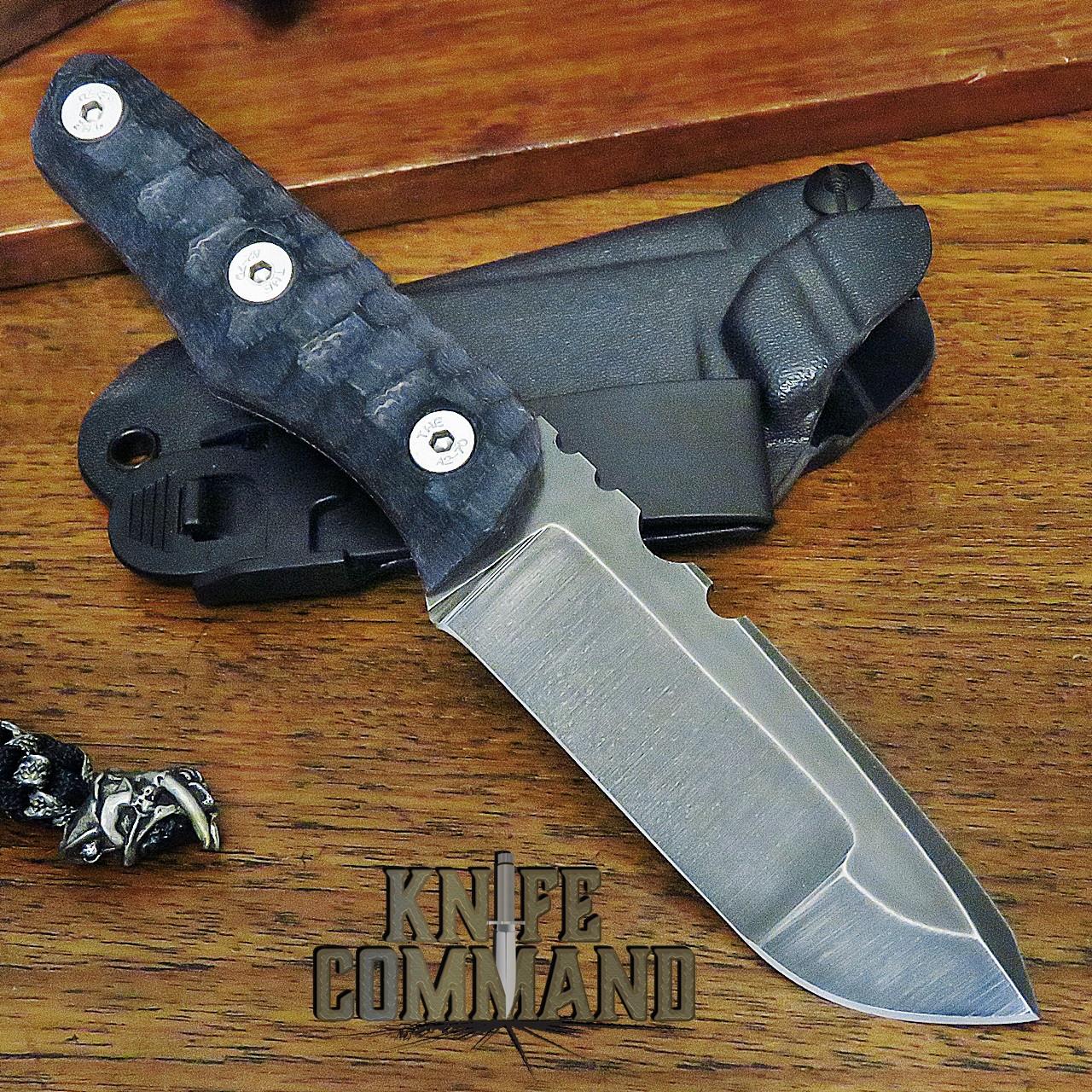 Wander Tactical Custom Scrambler EDC Fixed Blade Knife Compound Blade Dark Violet Micarta