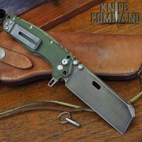 Wander Tactical Custom Franken Extreme Duty Folding Knife Green Micarta Duo