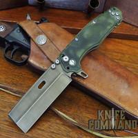 Wander Tactical Custom Franken Extreme Duty Folding Knife Green Micarta Raw