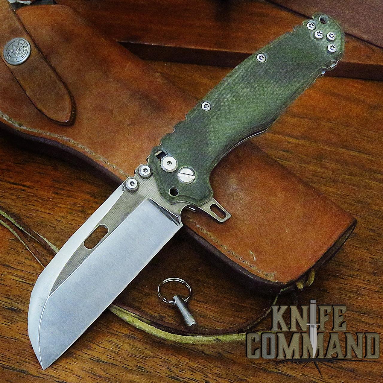 "Wander Tactical Custom Franken ""The Gate"" Extreme Duty Folding Knife Green Micarta Wharncliffe"