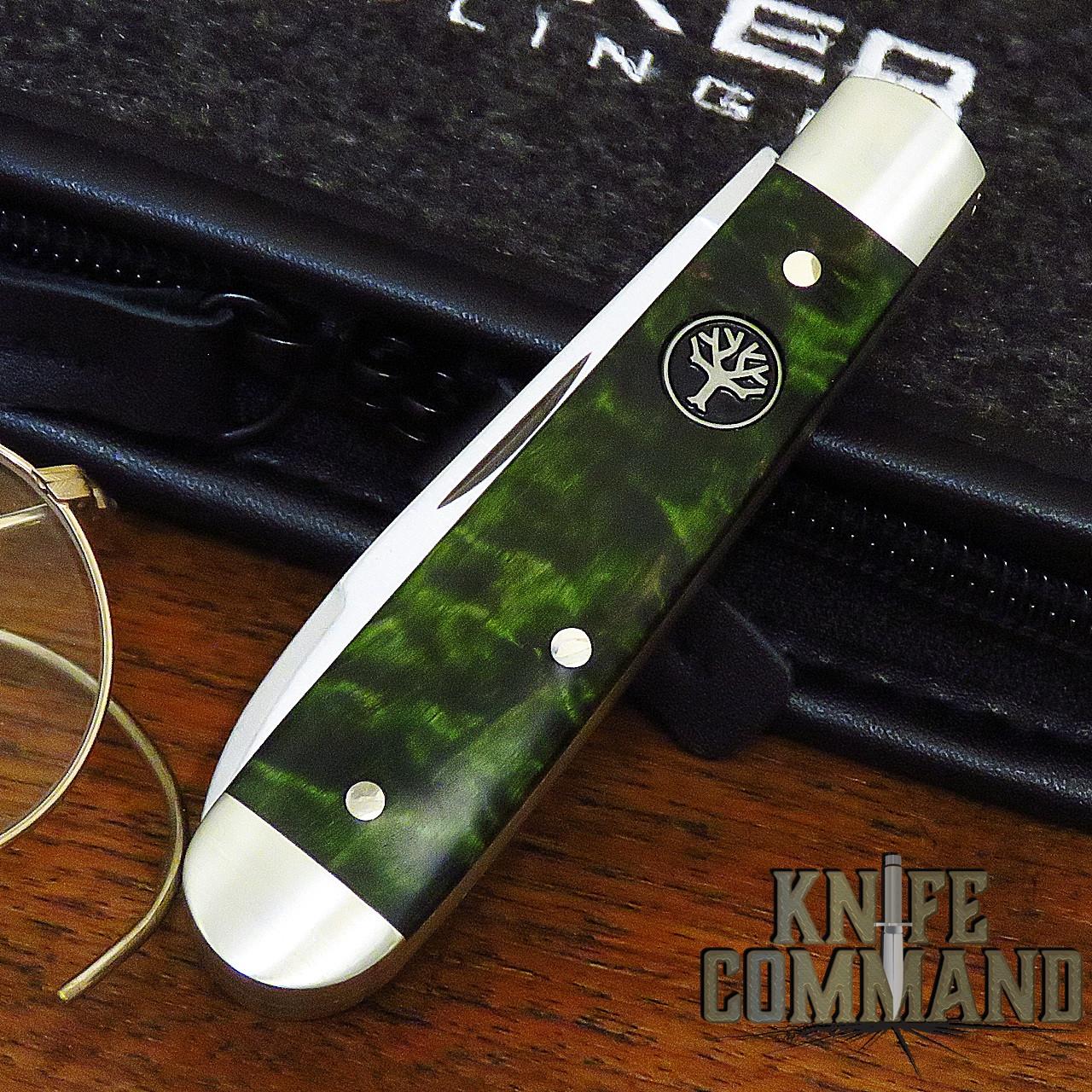 Boker Knives Swell-End Jack Knife Green Curly Birch Model 112916 Slip Joint 2 Blade
