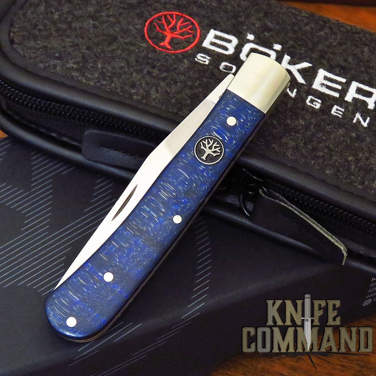 Boker Trapper Uno Model 117004 Classic Blue Curly Maple Slip-Joint Pocket Knife