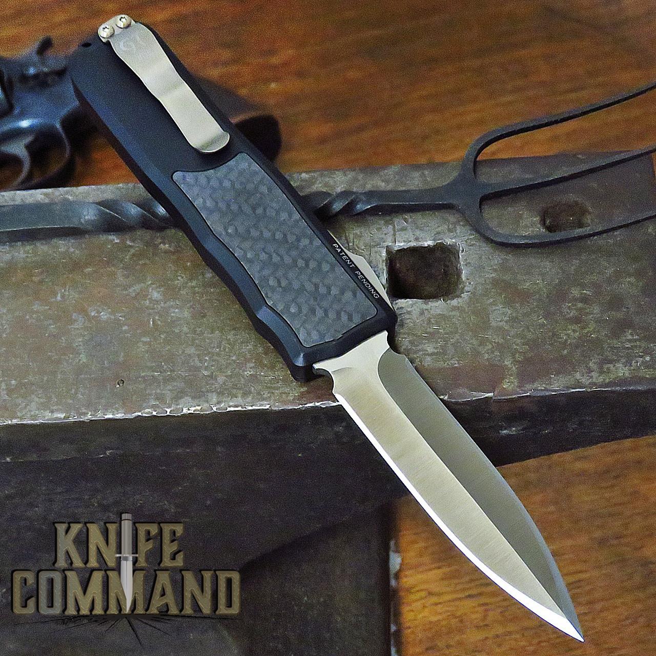 Guardian Tactical Custom Recon-035 OTF Reese Weiland Double Edge Satin Bronzed Elmax Carbon Fiber Automatic Knife 92931 B