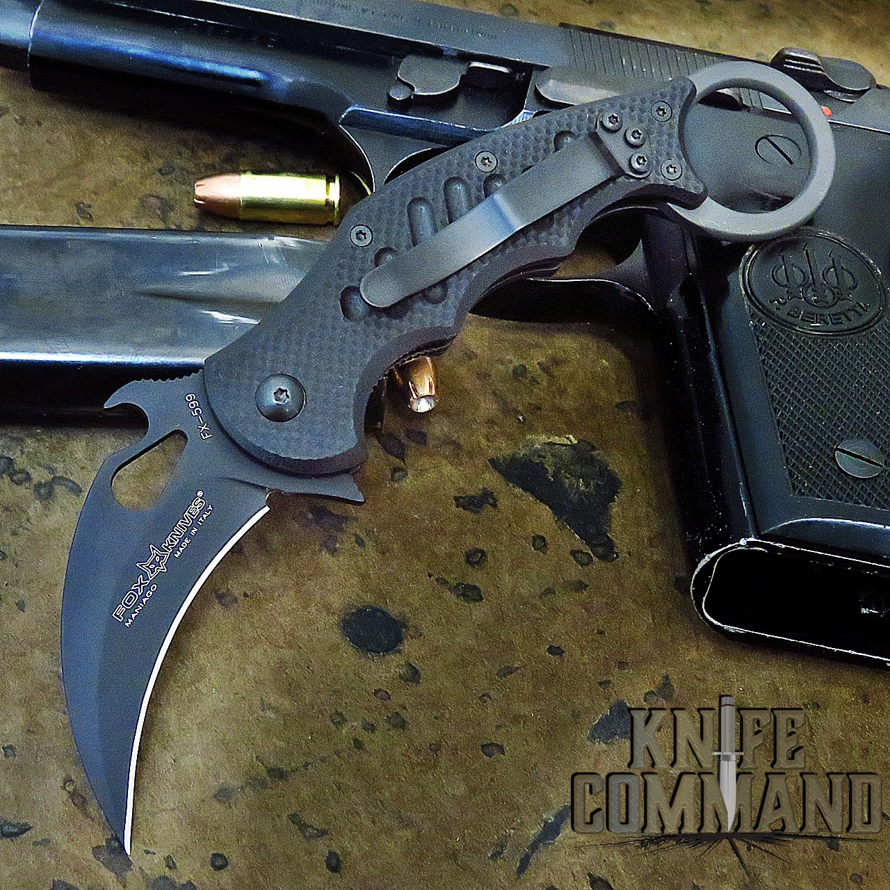 Fox Knives FX-599 Small Folding Karambit Knife Black G10 - Emerson Wave