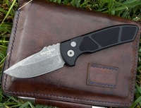 Pro-Tech Knives SBR Short Blade Rockeye Automatic Knife LG415 Les George Folder Acid Washed S35VN Blade Textured Handle