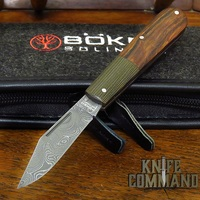 Boker Barlow Integral Leopard-Damascus Ironwood / Micarta Slip Joint Folder Knife 100501DAM