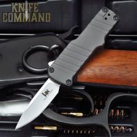"HK Micro Incursion OTF Automatic: 1.95"" Clip Point Blade - Stone Tumbled Finish, Matte Grey Aluminum Frame 54032"
