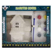 Sassafras Paint Your Own Haunted House Kids Activity Craft Kit with Paints and Ceramic Figure