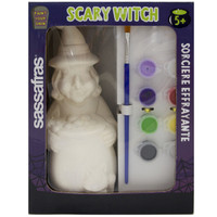 Sassafras Paint Your Own Witch Kids Activity Craft Kit with Paints and Ceramic Figure