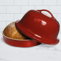 Superstone® Stoneware La Cloche® Bread Baker with Red Glazed Exterior and Unglazed Interior