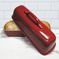 Superstone® Covered Baker with Red Glazed Exterior and Unglazed Interior