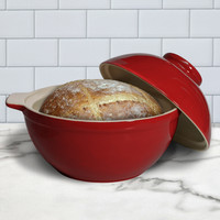 Superstone® Bread Dome with Red Exterior Glaze and Glazed Interior Base