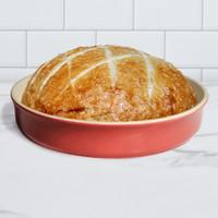 Sassafras Superstone® Stoneware Pie and Pizza Baker with Red Glaze and Unglazed Interior