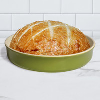 Sassafras Superstone® Stoneware Pie and Pizza Baker with Green Glaze and Unglazed Interior