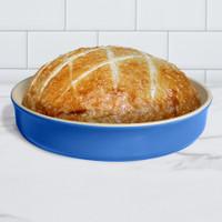 Sassafras Superstone® Stoneware Pie and Pizza Baker with Blue Glaze and Unglazed Interior