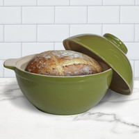Superstone® Bread Dome with Green Exterior Glaze and Glazed Interior Base