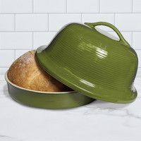Superstone® Stoneware La Cloche® Bread Baker with Green Glazed Exterior and Unglazed Interior
