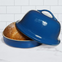Superstone® Stoneware La Cloche® Bread Baker with Blue Glazed Exterior and Unglazed Interior