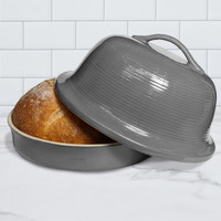 Superstone® Stoneware La Cloche® Bread Baker with Grey Glazed Exterior and Unglazed Interior