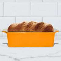 Superstone®  Loaf Pan with Tangerine Glazed Exterior and Unglazed Interior