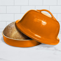 Superstone® Stoneware La Cloche® Bread Baker with Tangerine Glazed Exterior and Unglazed Interior