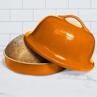 Superstone® Stoneware La Cloche® Bread Baker with Tangerine Glazed Exterior and Unglazed Interior