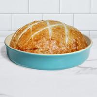 Sassafras Superstone® Stoneware Pie and Pizza Baker with Aquamarine Glaze and Unglazed Interior