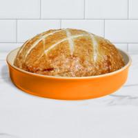 Sassafras Superstone® Stoneware Pie and Pizza Baker with Tangerine Glaze and Unglazed Interior