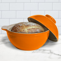 Superstone® Bread Dome with Tangerine Exterior Glaze and Glazed Interior Base