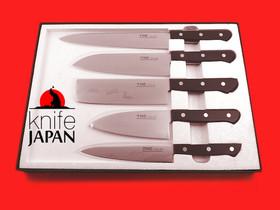 Yasugi Hagane Gingami Stainless Gift Set by Moriya Munemitsu YHC. Yanagiba + Santoku + Nakiri + Chu Deba + Petty Knife.