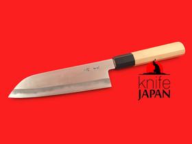 "Unshu Yukimitsu Hamono | Polished Santoku with Aomori hiba handle | 170mm・6.7"" | Shirogami #1 | Knife Japan"