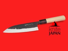"Tanaka Kama Kogyo | Stainless kurouchi santoku | 160mm・6¼"" | Aogami#2 | Knife Japan"