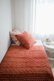 Terracotta Tribal Organic Cotton Baby quilt