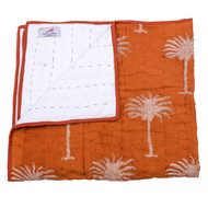 Rust Palm Trees Organic Cotton Baby quilt