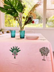 Sunset Pink Palms Tablecloth - 180x310cm