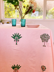 Sunset Pink Palms Tablecloth - 150 X 220cm