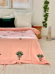 Sunset Pink Palms King Quilt Cover
