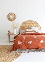 Rust Palm Tree King Quilt Cover