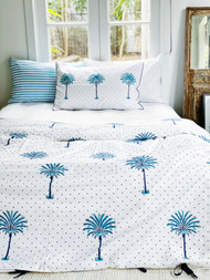 Blue Boho Polka Dot Palm Tree Quilt Cover -Double size